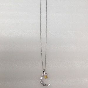 "Diamond Crescent Moon/Star 20"" Pendant Necklace"